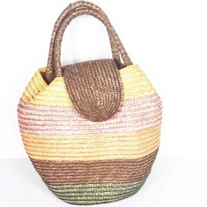 Vintage Straw Multicolor Striped Circle Handbag